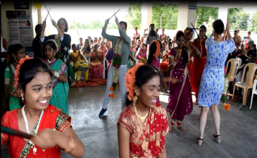 Children displayed their talents by dance and song